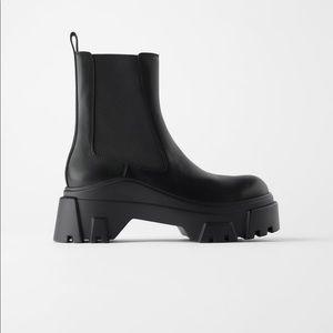 Zara black platform ankle boots